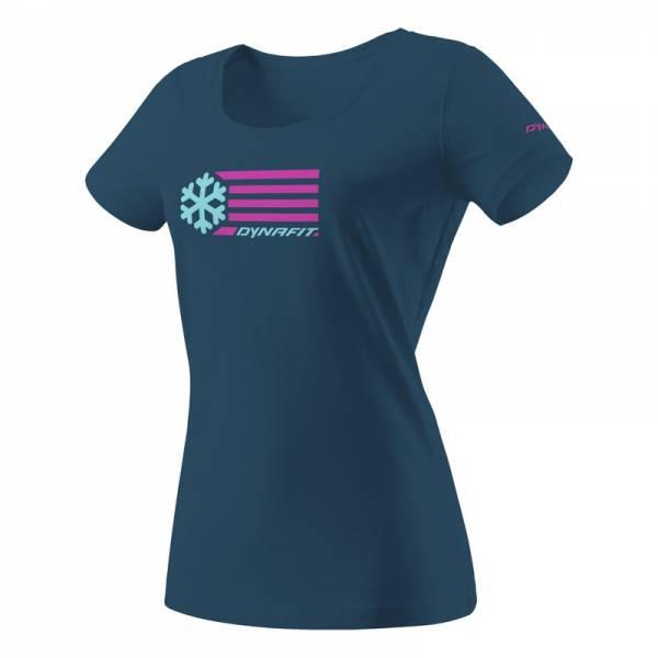 Dynafit Graphic Petrol Flag Women | Stylisches T-Shirt gehört zu jeder Skitourenausrüstung