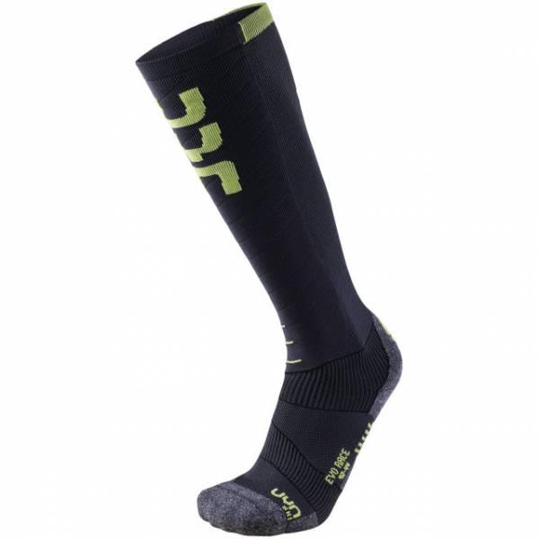 UYN Man Ski Evo Race Socks Anthracite/Green Lime   sockenstore.ch   ski-shop.ch