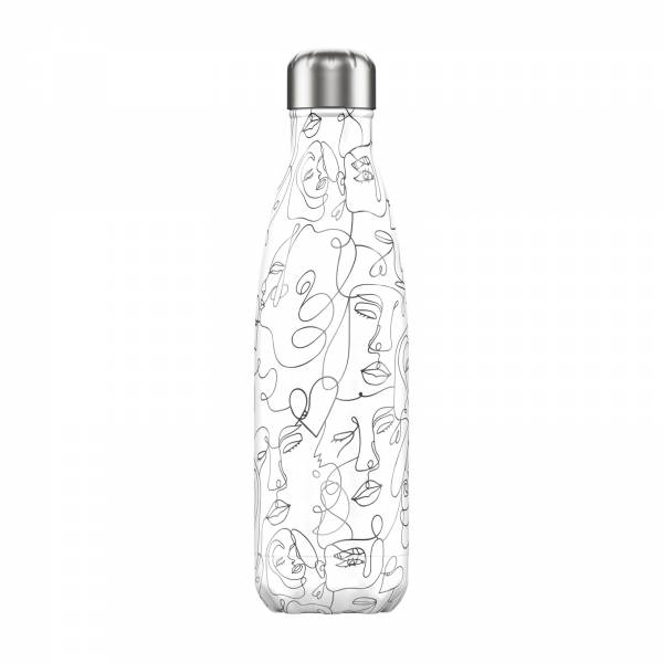 Chillys Trinkflasche Line Art Faces 500ml 5056243501557